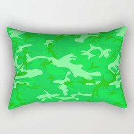Bright Colorful Green Camo Pattern Rectangular Pillow