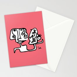 What are friends for pink black line art  Stationery Cards
