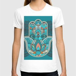 Hamsa Hand of Fatima, good luck charm, protection symbol anti evil eye T-shirt