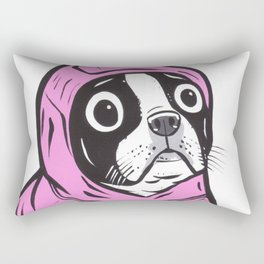 Pink Hoodie Boston Terrier Rectangular Pillow