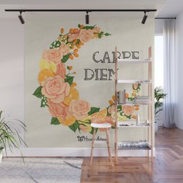 Crescent bloom | Oranges and roses_w Wall Mural