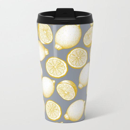 Lemons On Grey Background Metal Travel Mug