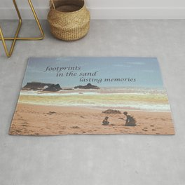 Footprints in The Sand Rug