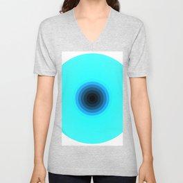 2020 Vision Concentric rings Cyan Blue Black gradient Unisex V-Neck