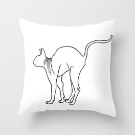 Sphynx Cat Arching Its Back - Naked Cat -  Simple Line - Minimal Throw Pillow