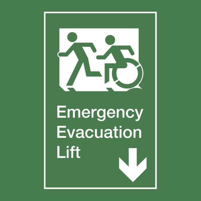 Accessible Means of Egress Icon, Emergency Evacuation Lift / Elevator Sign Comforters