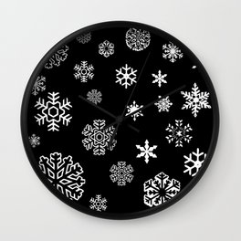 Modern black white hand painted snow flakes Wall Clock