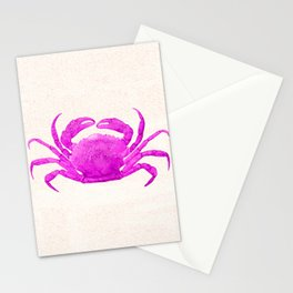 Nautical Pink Crab Linen Stationery Cards
