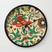 tattoos Wall Clocks featuring Tattoos by Illuminany