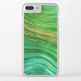 Green Mermaid Glamour Marble With Gold Veins Clear iPhone Case