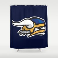 vikings Shower Curtains featuring Norwegian Vikings Logo by Griffey Challenge