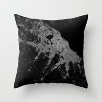 poland Throw Pillows featuring Warsaw map poland by Line Line Lines