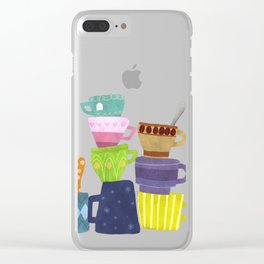 Coffee And Tea Cups And Mugs Stacked High Clear iPhone Case