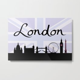 London Script on Union Jack Sky & Sites Purple Metal Print