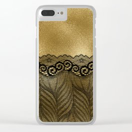 Black floral luxury lace on gold effect metal background Clear iPhone Case