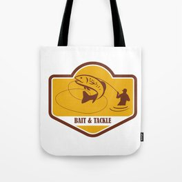 Trout Jumping Fly Fisherman Crest Retro Tote Bag