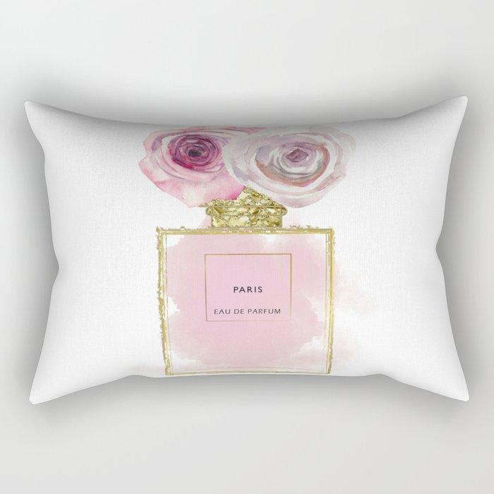 Pink & Gold Floral Fashion Perfume Bottle Rectangular Pillow