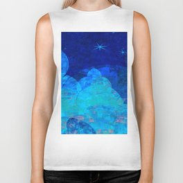 Deep Blue Night Sky Glow Biker Tank