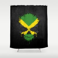 jamaica Shower Curtains featuring Flag of Jamaica on a Chaotic Splatter Skull by Jeff Bartels