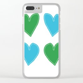 Blue and Green Hearts - 4 hearts Clear iPhone Case