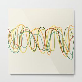 Abstract Minimal Retro Lines Metal Print
