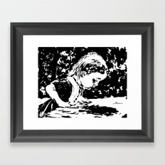 Alice and the rabbit hole Framed Art Print