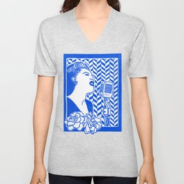 Lady Day (Billie Holiday block print) Unisex V-Neck