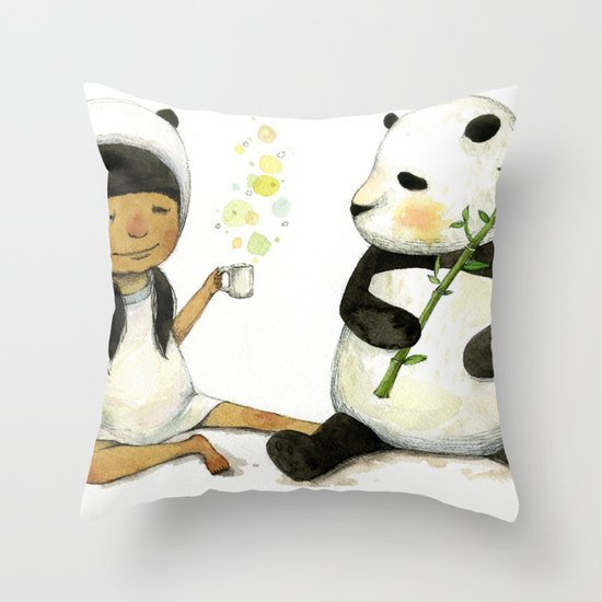 Tea Time with Panda  Throw Pillow