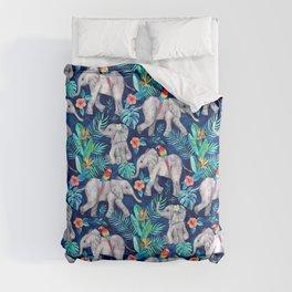 Elephants and Parrots in Indigo Blue Comforters
