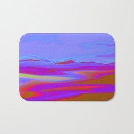 """Pixel Beach"" (Ice Blue/Red/Purple) Digital Painting // Fine Art Print Bath Mat"