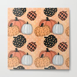Seamless Pattern With Pumpkins.Thanksgiving Day Background. Metal Print