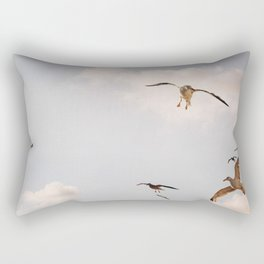 Photo of Seagulls, flying birds on the Island of Texel II, Holland/The Netherlands | Fine Art Colorful Travel Photography |  Rectangular Pillow