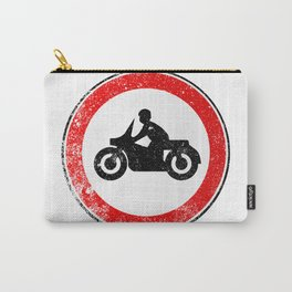 Motorcycle Round Traffic Sign Grunge Carry-All Pouch