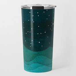 Starry Ocean, teal sailboat watercolor sea waves night Travel Mug