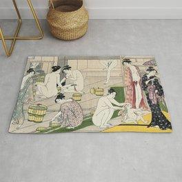 Interior of a Bathhouse by Torii Kiyonaga - Japanese Woodblock Rug