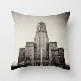 Down Town Buffalo NY city hall Throw Pillow