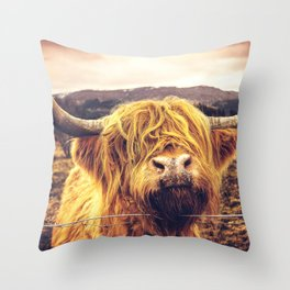 Highland Cow Nose Barbed Wire Fence Color Throw Pillow
