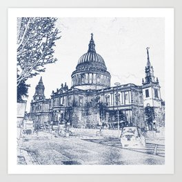 St Pauls Cathedral with Taxi London 2072 Art Print