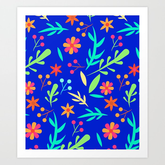 Blue Garden #illustration #pattern Art Print