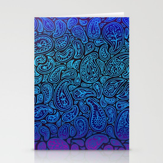 Purple Paisley - ombre paisley pattern in purple, blue and black. Stationery Cards