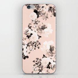 Modern girly elegant blush pink white floral pattern iPhone Skin