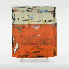 Roadrunner Bright Orange Abstract Colorful Art Painting Shower Curtain