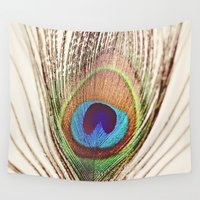 peacock Wall Tapestries featuring Peacock by Laura Ruth
