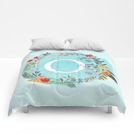 Personalized Monogram Initial Letter O Blue Watercolor Flower Wreath Artwork Comforters