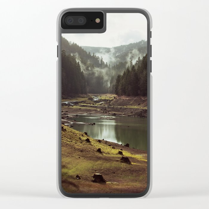 Foggy Forest Creek Clear iPhone Case