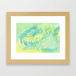 Say Congrats! in Blue, Green and Yellow Framed Art Print