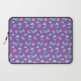 Modern green pink violet hand drawn birds pattern Laptop Sleeve