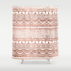 Modern rose gold leopard geometric aztec pattern Shower Curtain
