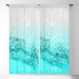 Silver Gray Aqua Teal Ocean Glitter #1 #shiny #decor #art #society6 Blackout Curtain