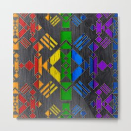 Colorful Geometric Wooden texture pattern Metal Print